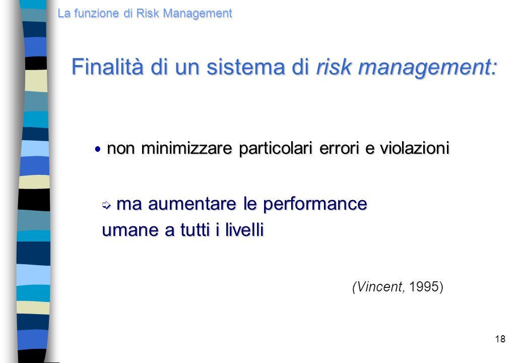 18 Finalità di un sistema di risk management: non minimizzare particolari errori e violazioni  ma aumentare le performance umane a tutti i livelli La