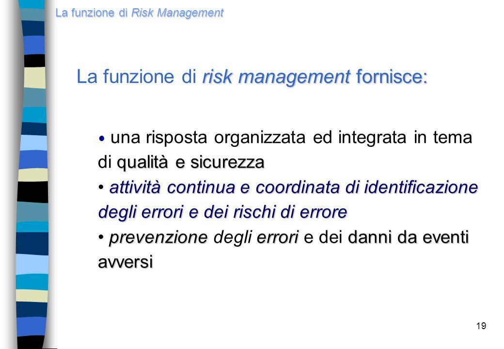 19 risk management fornisce: La funzione di risk management fornisce: qualità e sicurezza una risposta organizzata ed integrata in tema di qualità e s