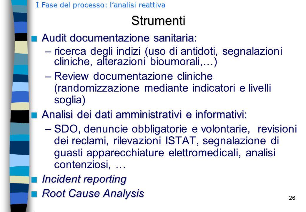26 Strumenti n Audit documentazione sanitaria: –ricerca degli indizi (uso di antidoti, segnalazioni cliniche, alterazioni bioumorali,…) –Review docume