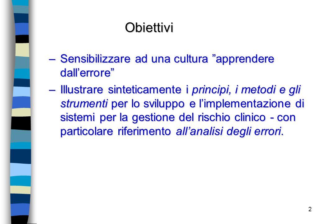 """2 –Sensibilizzare ad una cultura """"apprendere dall'errore"""" –Illustrare sinteticamente i principi, i metodi e gli strumenti per lo sviluppo e l'implemen"""