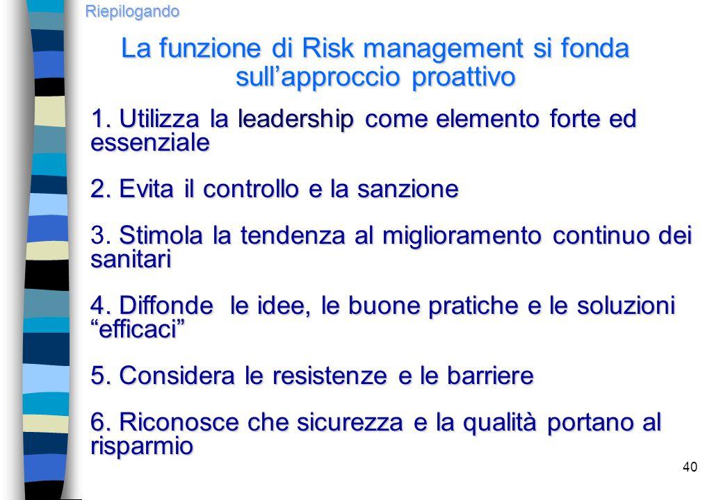 40 1. Utilizza la leadership come elemento forte ed essenziale 2. Evita il controllo e la sanzione Stimola la tendenza al miglioramento continuo dei s