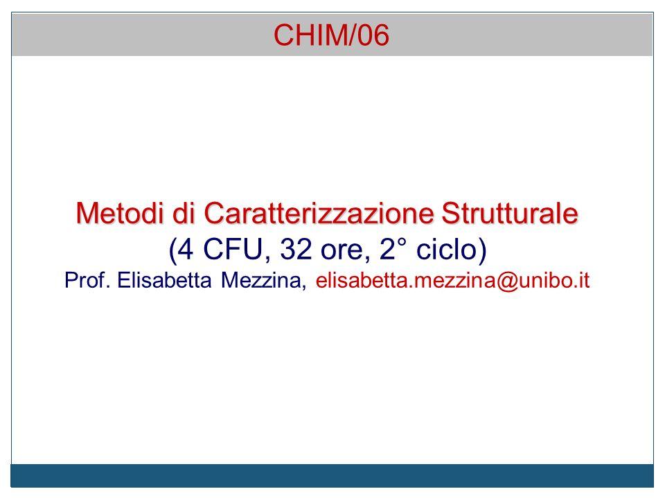 Metodi di Caratterizzazione Strutturale (4 CFU, 32 ore, 2° ciclo) Prof.