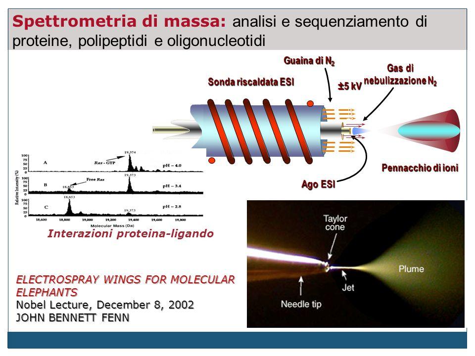 Spettrometria di massa: analisi e sequenziamento di proteine, polipeptidi e oligonucleotidi Guaina di N 2 Sonda riscaldata ESI Ago ESI Pennacchio di ioni ±5 kV Gas di nebulizzazione N 2 ELECTROSPRAY WINGS FOR MOLECULAR ELEPHANTS Nobel Lecture, December 8, 2002 JOHN BENNETT FENN Interazioni proteina-ligando