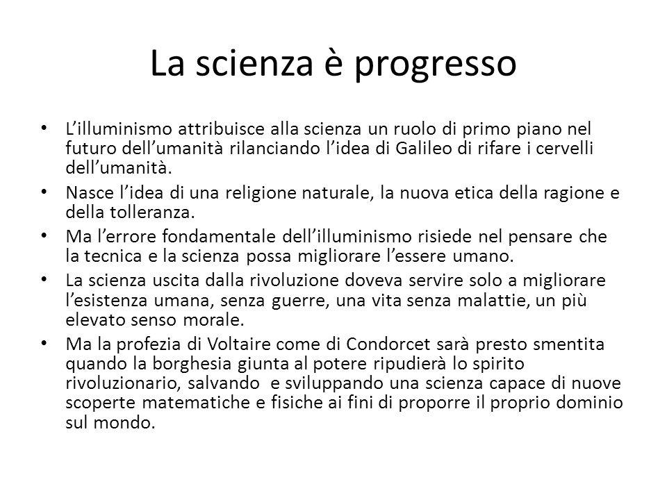 La scienza è progresso L'illuminismo attribuisce alla scienza un ruolo di primo piano nel futuro dell'umanità rilanciando l'idea di Galileo di rifare i cervelli dell'umanità.