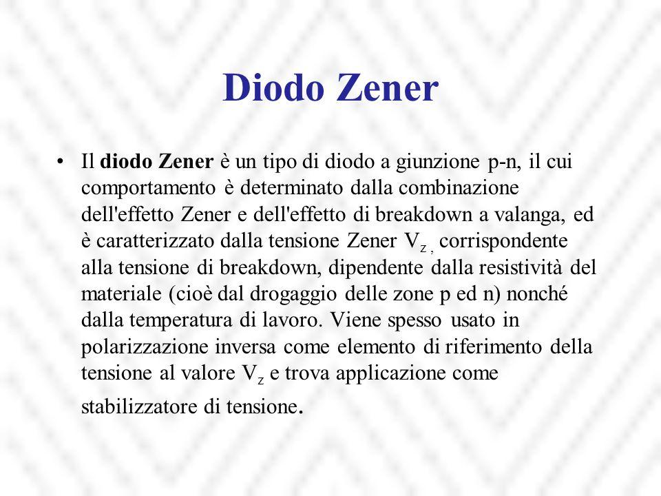 Diodo Zener Il diodo Zener è un tipo di diodo a giunzione p-n, il cui comportamento è determinato dalla combinazione dell'effetto Zener e dell'effetto