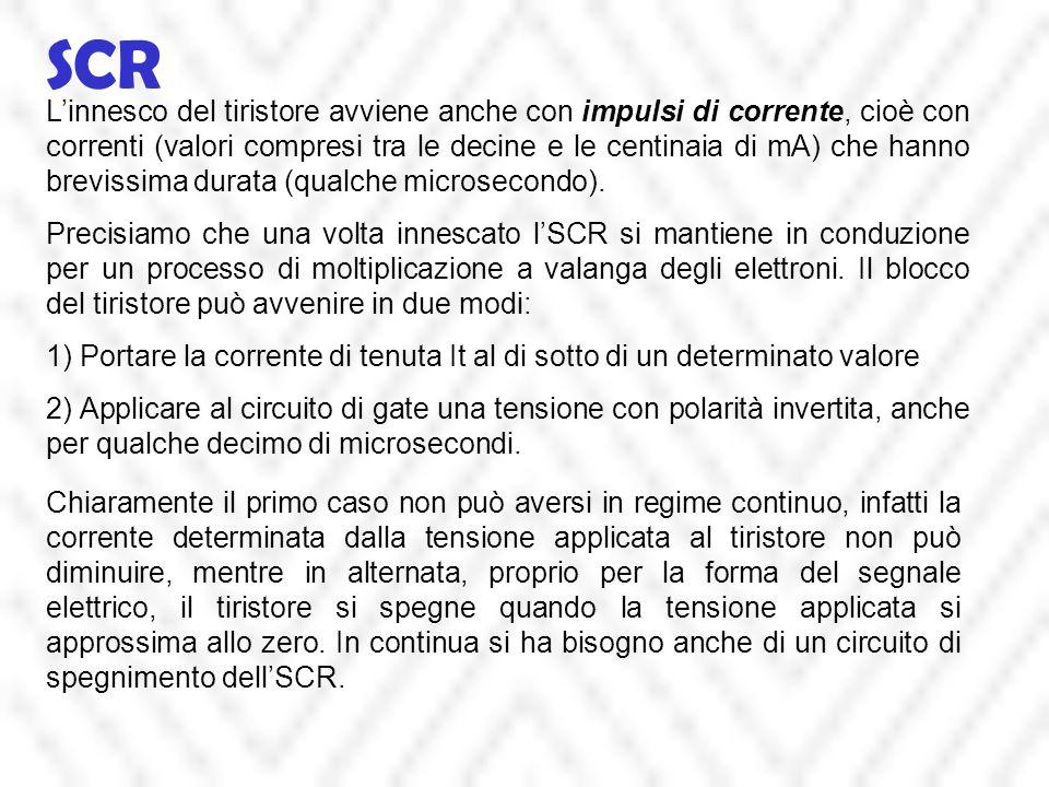 SCR L'innesco del tiristore avviene anche con impulsi di corrente, cioè con correnti (valori compresi tra le decine e le centinaia di mA) che hanno br