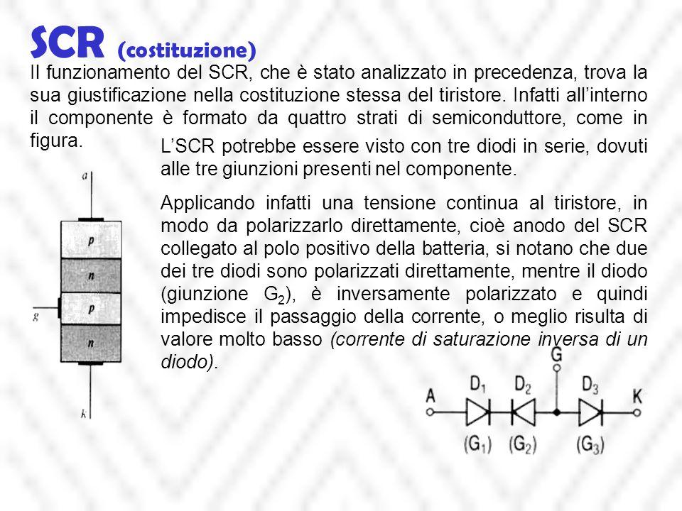 SCR (costituzione) Il funzionamento del SCR, che è stato analizzato in precedenza, trova la sua giustificazione nella costituzione stessa del tiristor