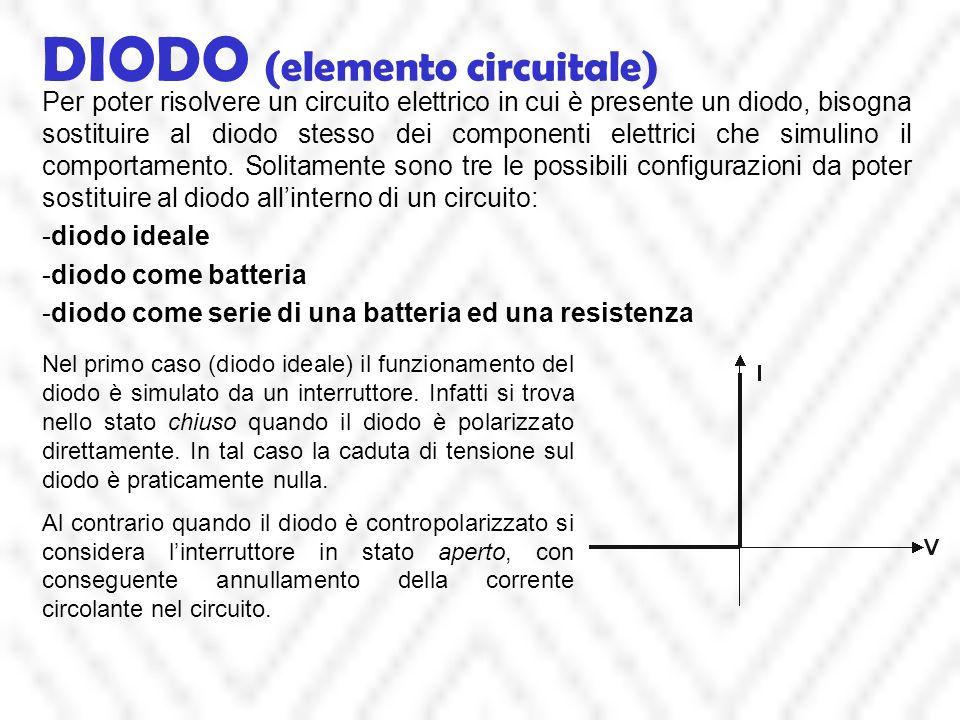 DIODO (elemento circuitale) Per poter risolvere un circuito elettrico in cui è presente un diodo, bisogna sostituire al diodo stesso dei componenti el
