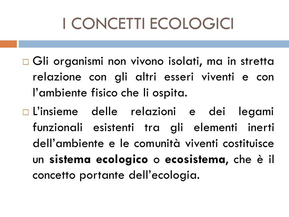 I CONCETTI ECOLOGICI  Gli organismi non vivono isolati, ma in stretta relazione con gli altri esseri viventi e con l'ambiente fisico che li ospita. 