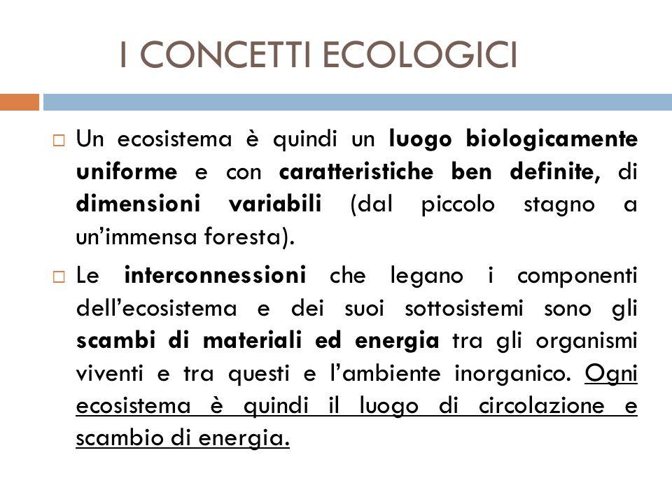 I CONCETTI ECOLOGICI  Un ecosistema è quindi un luogo biologicamente uniforme e con caratteristiche ben definite, di dimensioni variabili (dal piccol