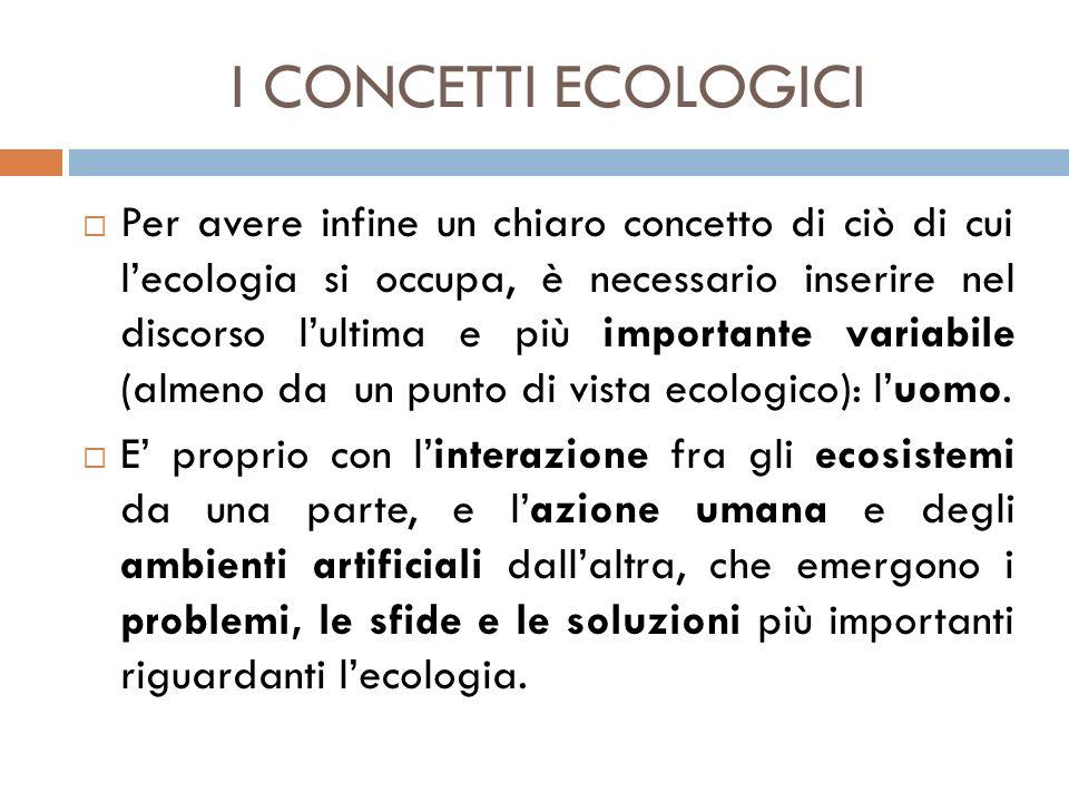 I CONCETTI ECOLOGICI  Per avere infine un chiaro concetto di ciò di cui l'ecologia si occupa, è necessario inserire nel discorso l'ultima e più impor