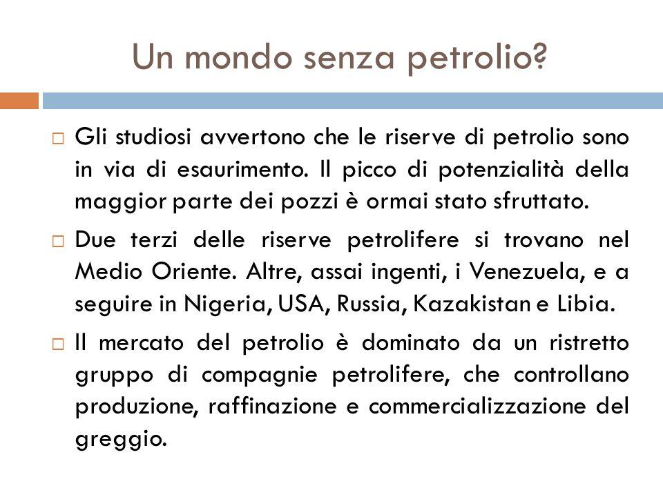 Un mondo senza petrolio?  Gli studiosi avvertono che le riserve di petrolio sono in via di esaurimento. Il picco di potenzialità della maggior parte