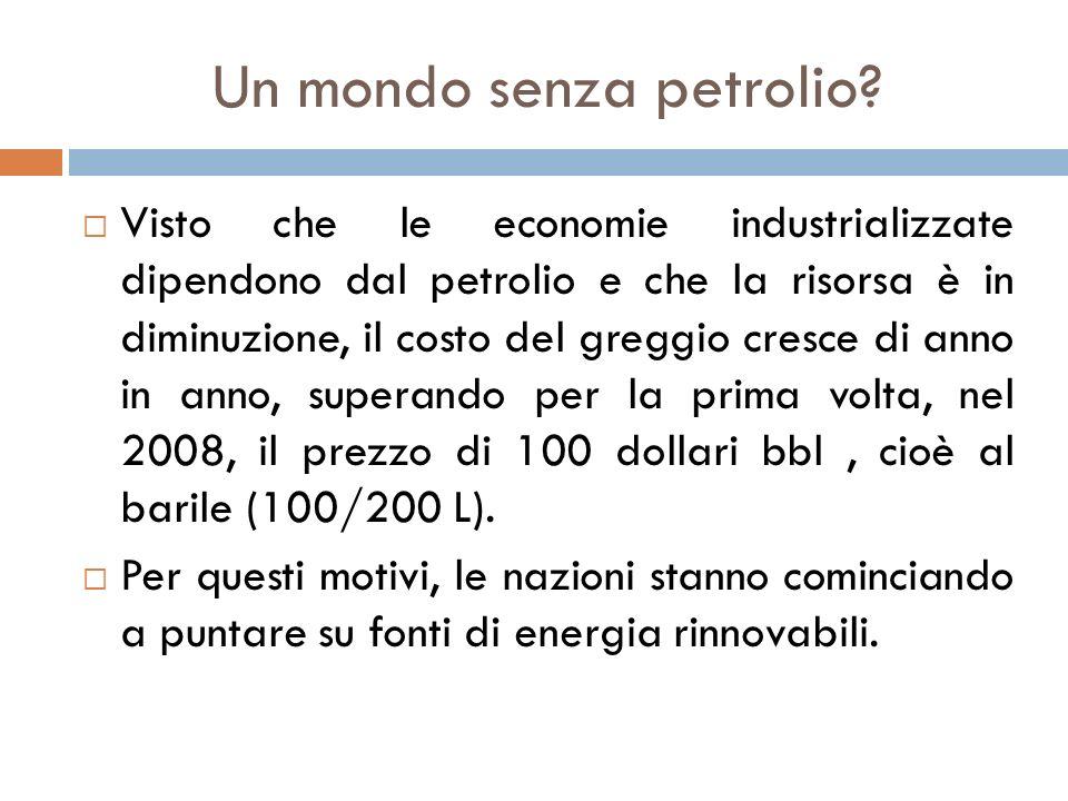Un mondo senza petrolio?  Visto che le economie industrializzate dipendono dal petrolio e che la risorsa è in diminuzione, il costo del greggio cresc