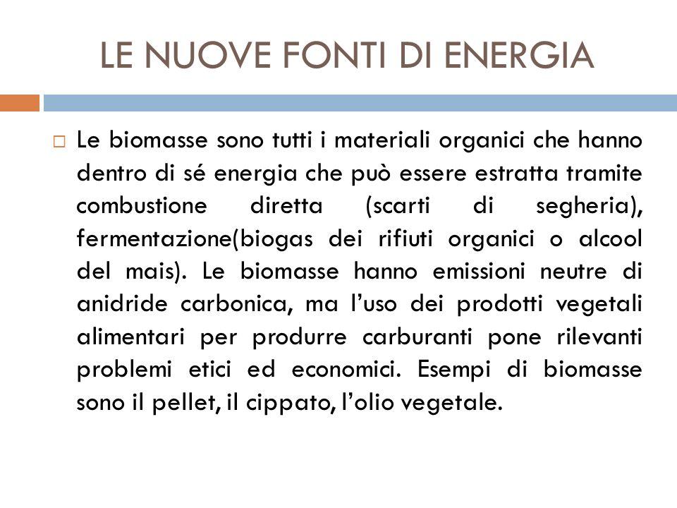 LE NUOVE FONTI DI ENERGIA  Le biomasse sono tutti i materiali organici che hanno dentro di sé energia che può essere estratta tramite combustione dir