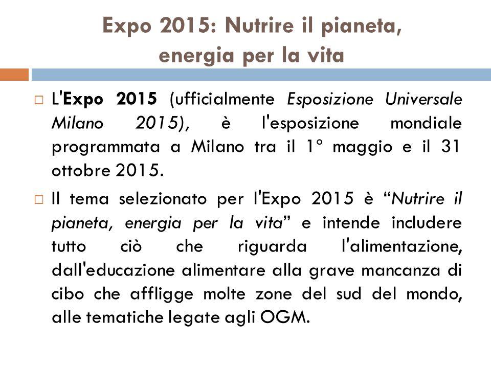 Expo 2015: Nutrire il pianeta, energia per la vita  L'Expo 2015 (ufficialmente Esposizione Universale Milano 2015), è l'esposizione mondiale programm