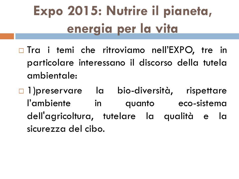 Expo 2015: Nutrire il pianeta, energia per la vita  Tra i temi che ritroviamo nell'EXPO, tre in particolare interessano il discorso della tutela ambi