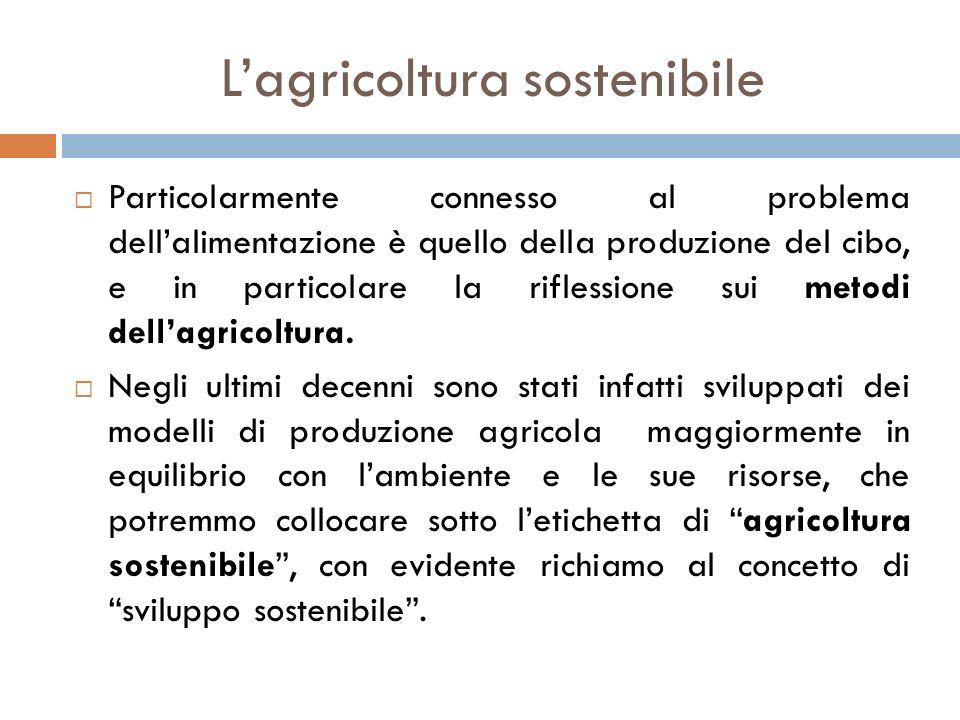 L'agricoltura sostenibile  Particolarmente connesso al problema dell'alimentazione è quello della produzione del cibo, e in particolare la riflession