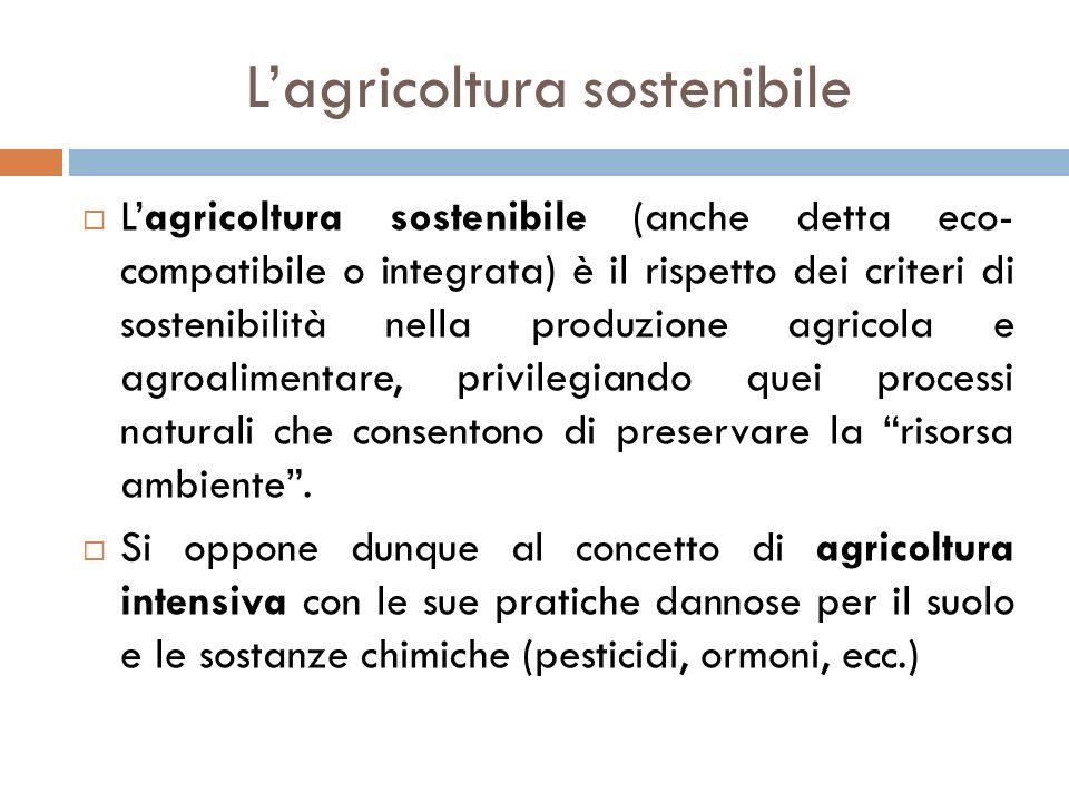 L'agricoltura sostenibile  L'agricoltura sostenibile (anche detta eco- compatibile o integrata) è il rispetto dei criteri di sostenibilità nella prod
