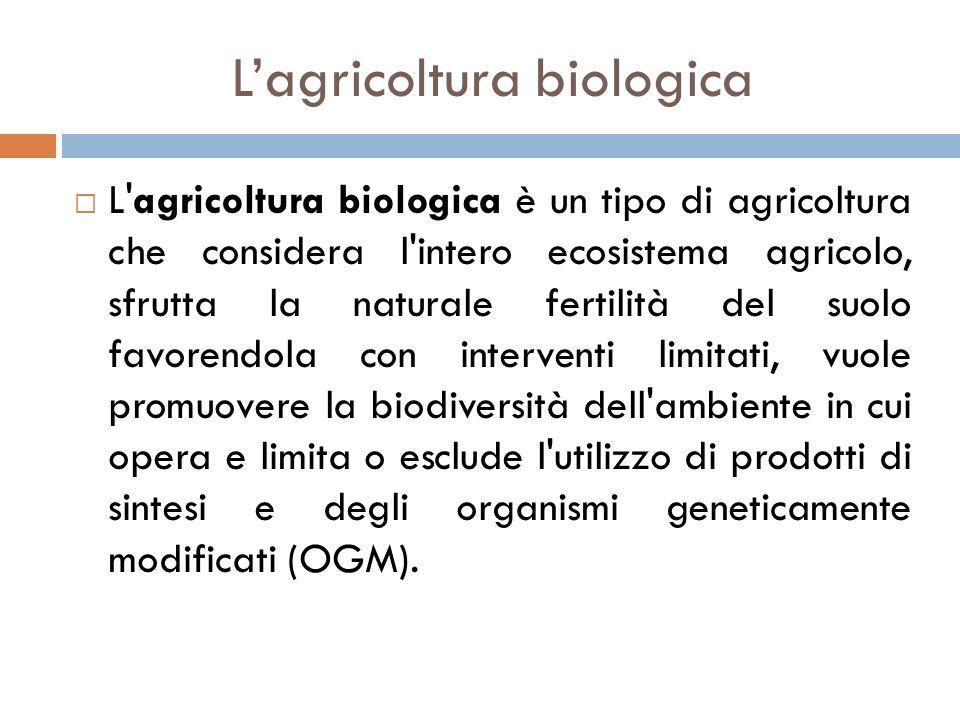 L'agricoltura biologica  L'agricoltura biologica è un tipo di agricoltura che considera l'intero ecosistema agricolo, sfrutta la naturale fertilità d