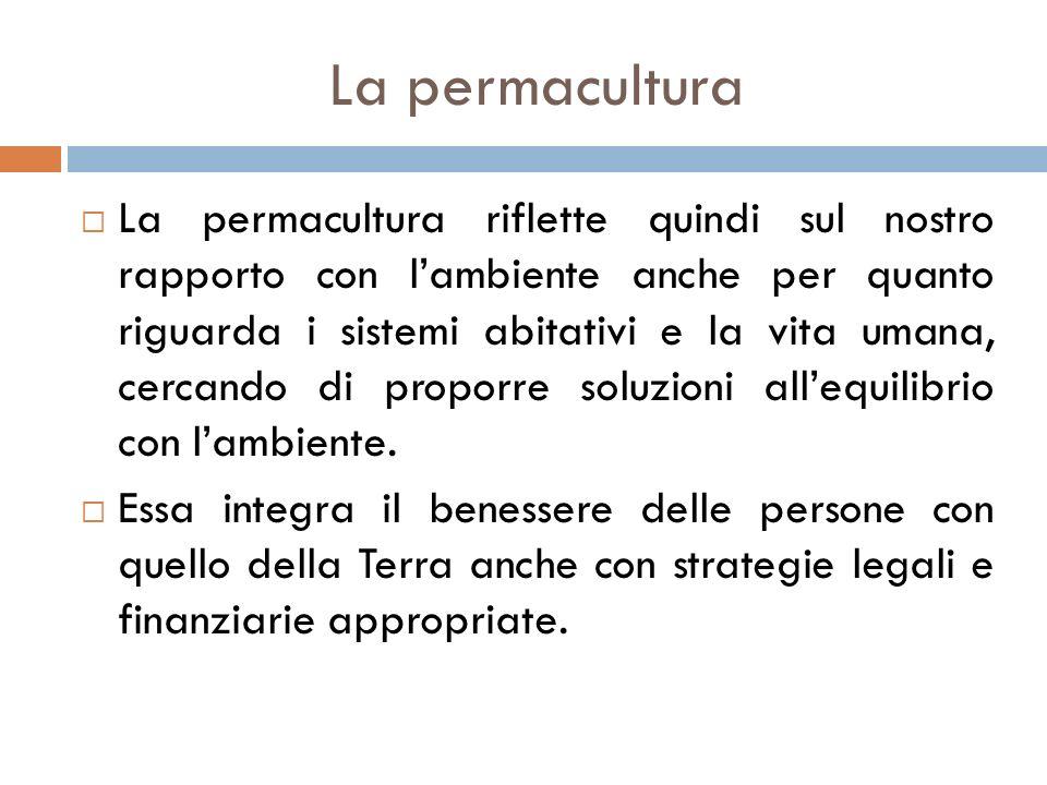  La permacultura riflette quindi sul nostro rapporto con l'ambiente anche per quanto riguarda i sistemi abitativi e la vita umana, cercando di propor