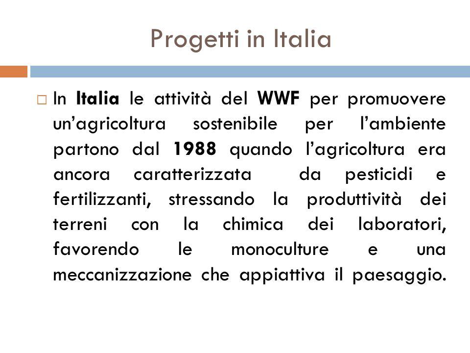 Progetti in Italia  In Italia le attività del WWF per promuovere un'agricoltura sostenibile per l'ambiente partono dal 1988 quando l'agricoltura era