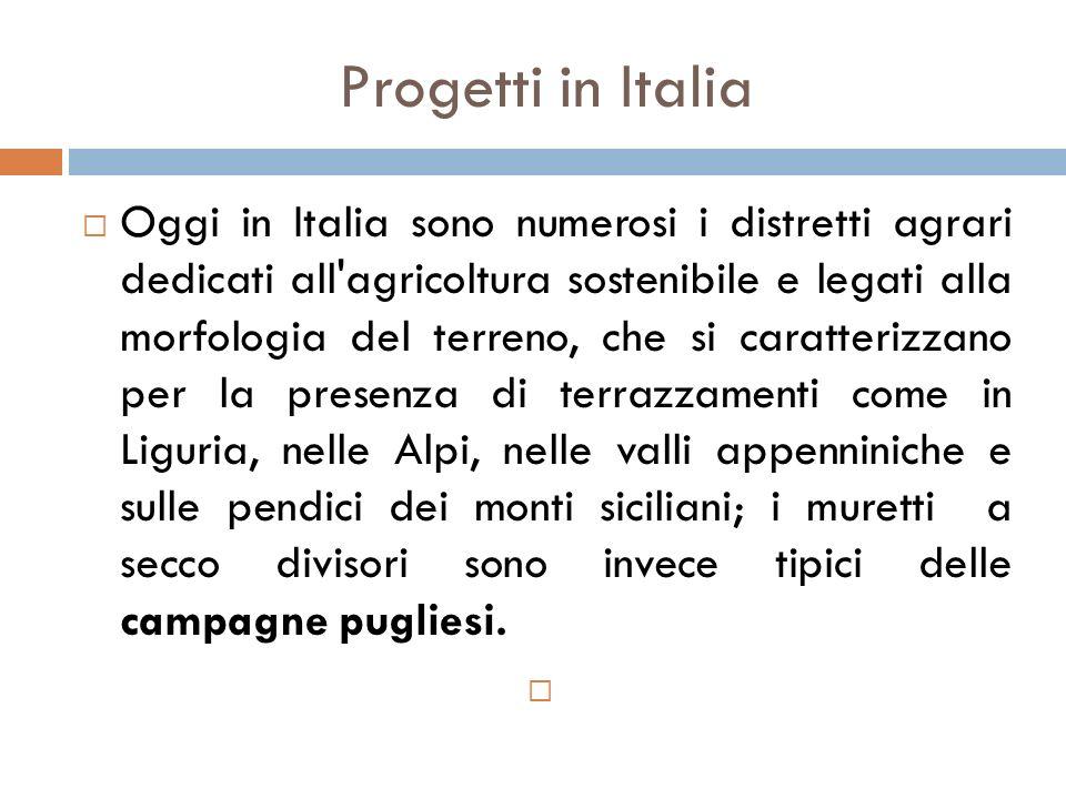 Progetti in Italia  Oggi in Italia sono numerosi i distretti agrari dedicati all'agricoltura sostenibile e legati alla morfologia del terreno, che si