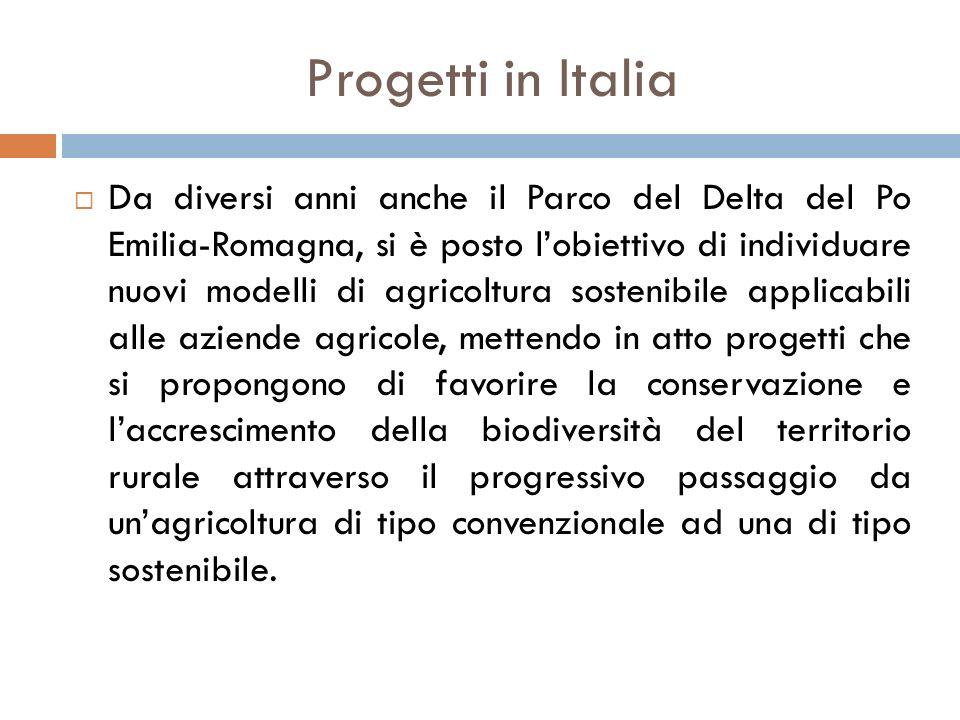 Progetti in Italia  Da diversi anni anche il Parco del Delta del Po Emilia-Romagna, si è posto l'obiettivo di individuare nuovi modelli di agricoltur