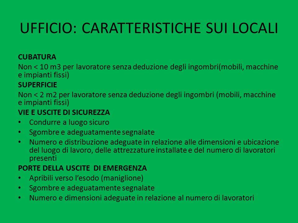 UFFICIO: CARATTERISTICHE SUI LOCALI CUBATURA Non < 10 m3 per lavoratore senza deduzione degli ingombri(mobili, macchine e impianti fissi) SUPERFICIE N