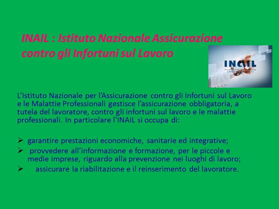 INAIL : Istituto Nazionale Assicurazione contro gli Infortuni sul Lavoro L'Istituto Nazionale per l'Assicurazione contro gli Infortuni sul Lavoro e le