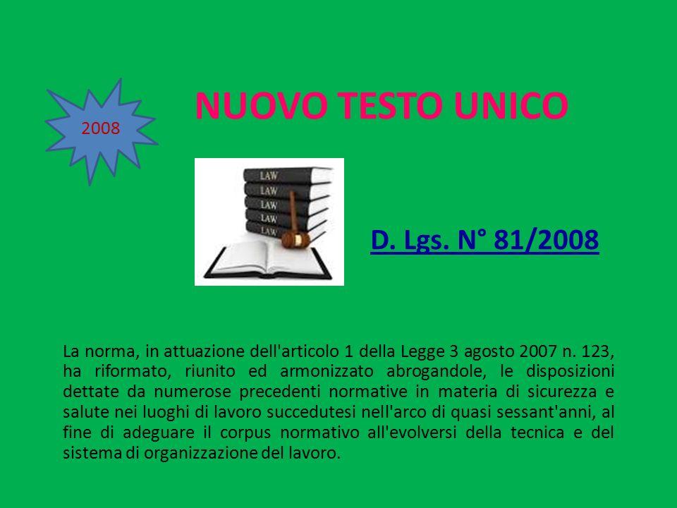 NUOVO TESTO UNICO D. Lgs. N° 81/2008 La norma, in attuazione dell'articolo 1 della Legge 3 agosto 2007 n. 123, ha riformato, riunito ed armonizzato ab