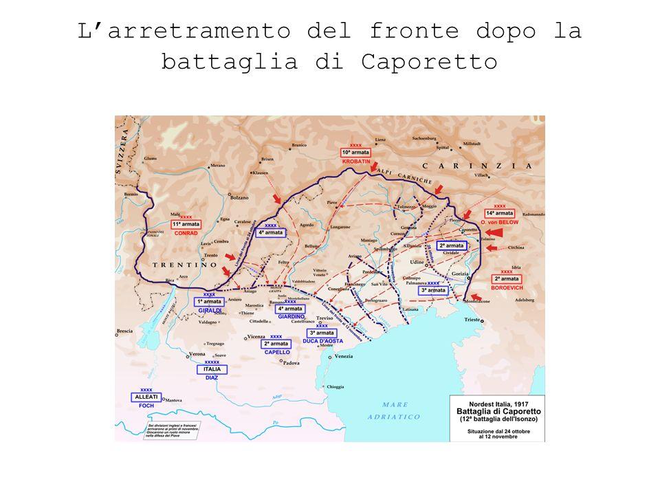 L'arretramento del fronte dopo la battaglia di Caporetto