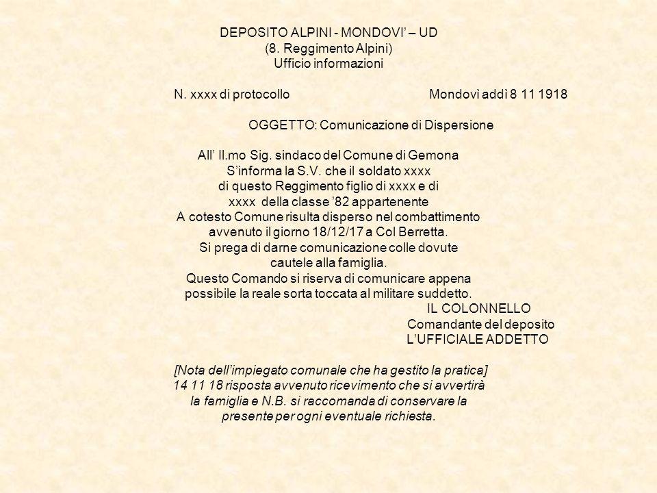 DEPOSITO ALPINI - MONDOVI' – UD (8. Reggimento Alpini) Ufficio informazioni N.