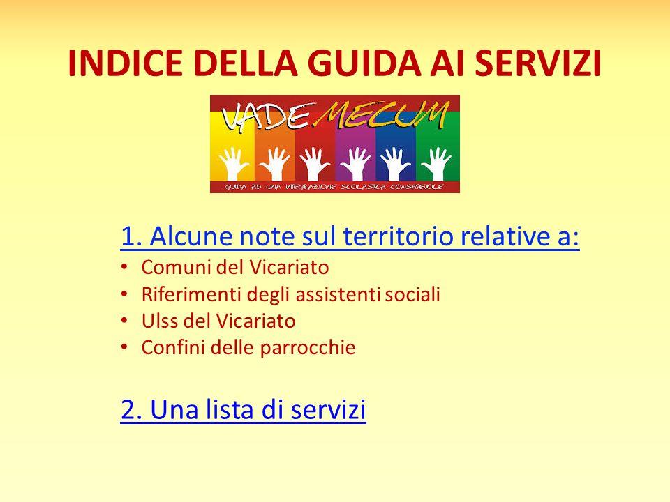 INDICE DELLA GUIDA AI SERVIZI 1. Alcune note sul territorio relative a: Comuni del Vicariato Riferimenti degli assistenti sociali Ulss del Vicariato C