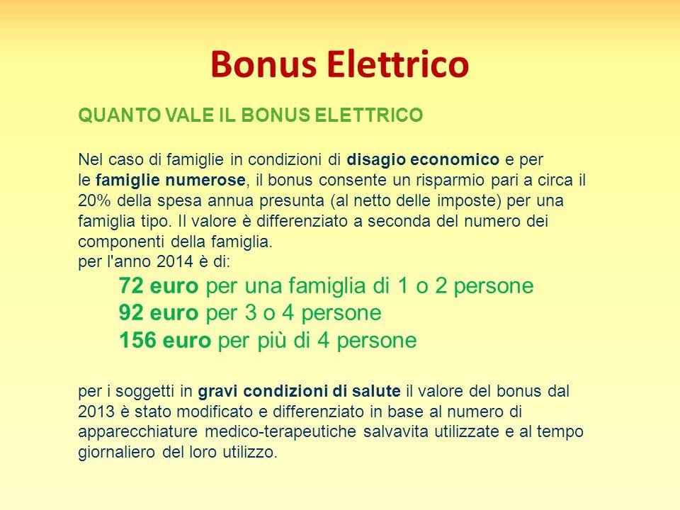 Bonus Elettrico QUANTO VALE IL BONUS ELETTRICO Nel caso di famiglie in condizioni di disagio economico e per le famiglie numerose, il bonus consente u