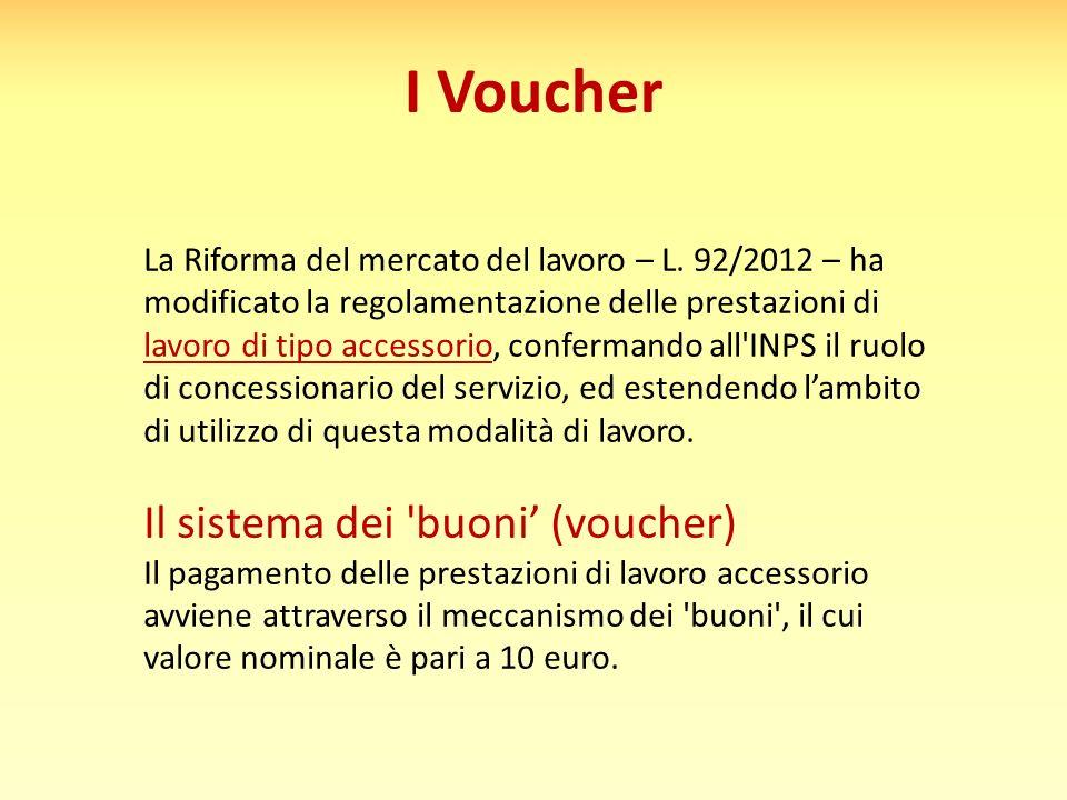 I Voucher La Riforma del mercato del lavoro – L. 92/2012 – ha modificato la regolamentazione delle prestazioni di lavoro di tipo accessorio, conferman