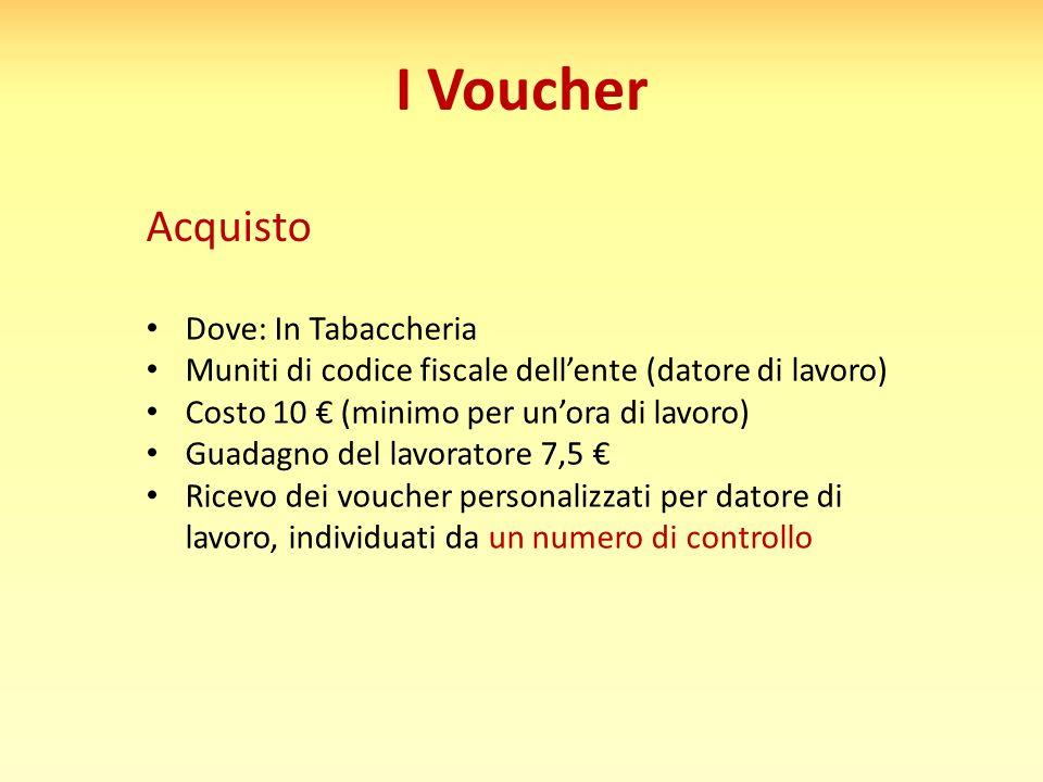 I Voucher Acquisto Dove: In Tabaccheria Muniti di codice fiscale dell'ente (datore di lavoro) Costo 10 € (minimo per un'ora di lavoro) Guadagno del la