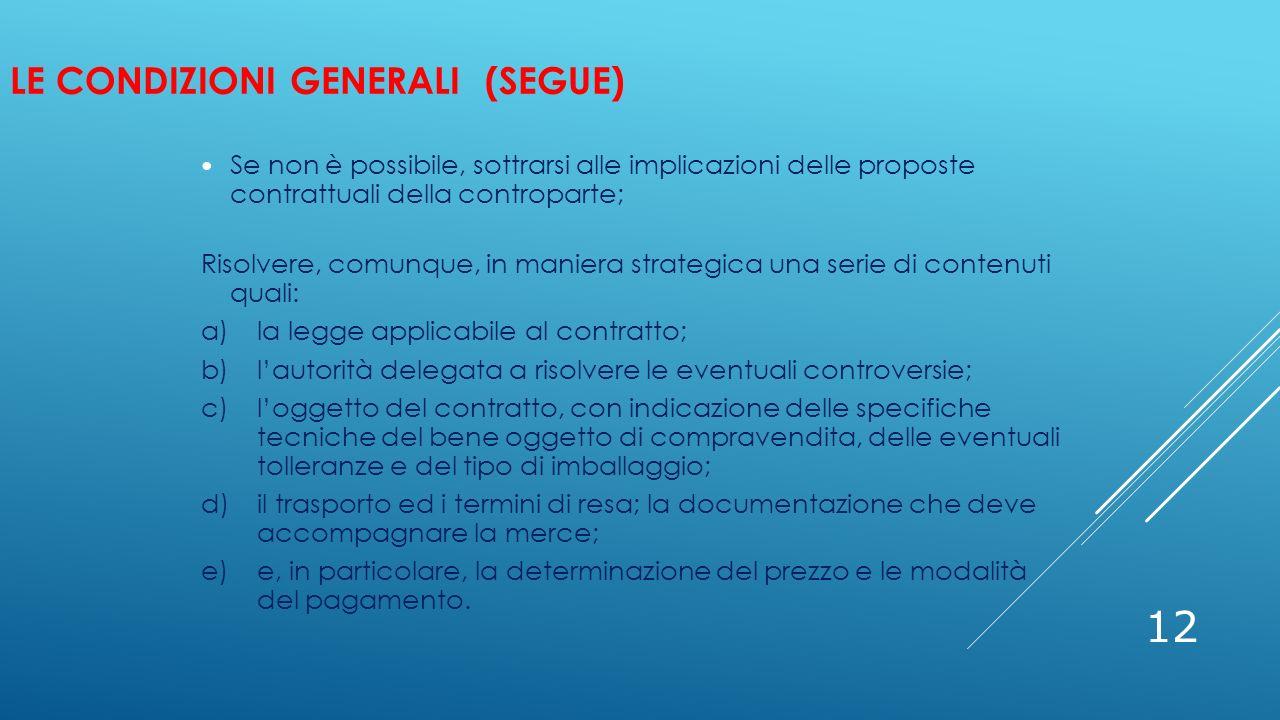 LE CONDIZIONI GENERALI (SEGUE) 12 Se non è possibile, sottrarsi alle implicazioni delle proposte contrattuali della controparte; Risolvere, comunque,