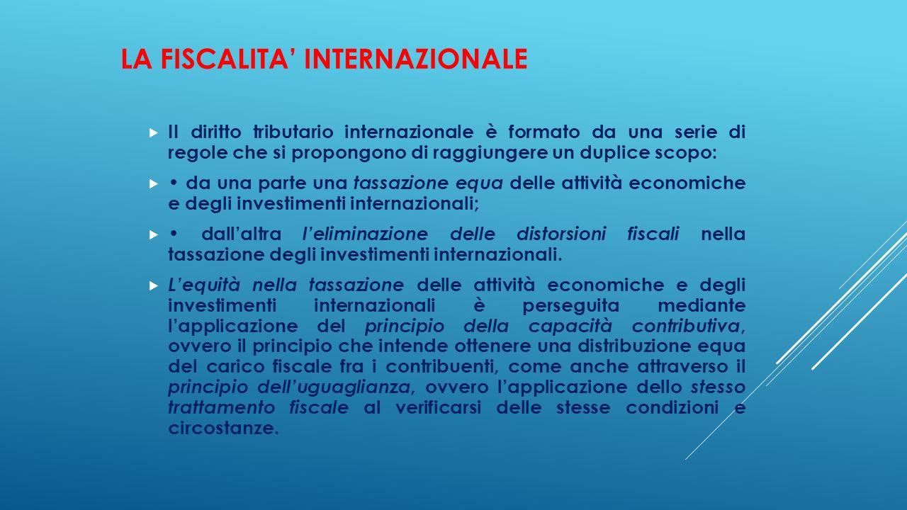 LA FISCALITA' INTERNAZIONALE  II diritto tributario internazionale è formato da una serie di regole che si propongono di raggiungere un duplice scopo