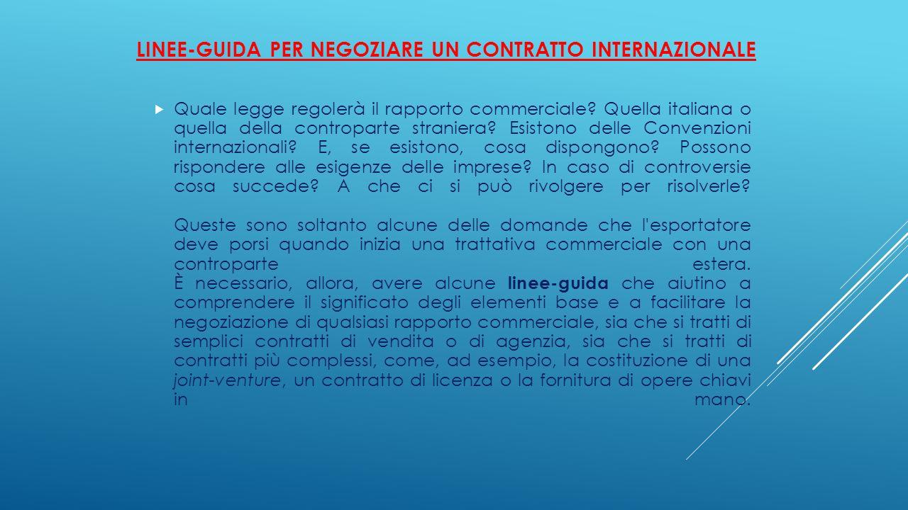 LINEE-GUIDA PER NEGOZIARE UN CONTRATTO INTERNAZIONALE  Quale legge regolerà il rapporto commerciale? Quella italiana o quella della controparte stran