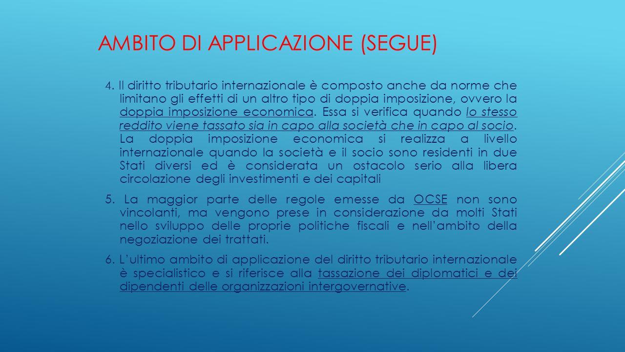 AMBITO DI APPLICAZIONE (SEGUE) 4. Il diritto tributario internazionale è composto anche da norme che limitano gli effetti di un altro tipo di doppia i