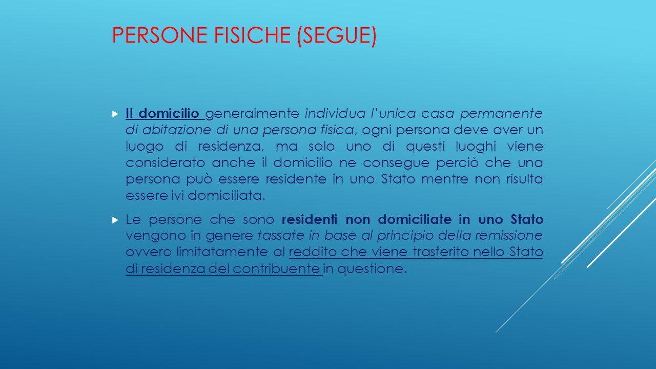 PERSONE FISICHE (SEGUE)  Il domicilio generalmente individua l'unica casa permanente di abitazione di una persona fisica, ogni persona deve aver un l