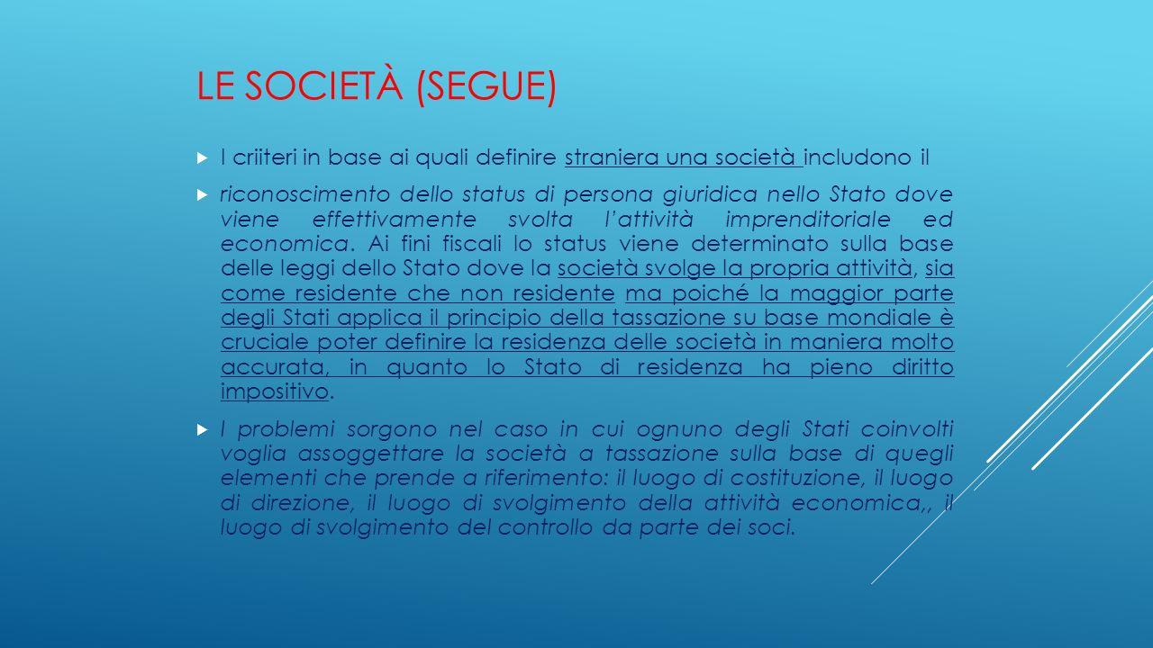 LE SOCIETÀ (SEGUE)  I criiteri in base ai quali definire straniera una società includono il  riconoscimento dello status di persona giuridica nello