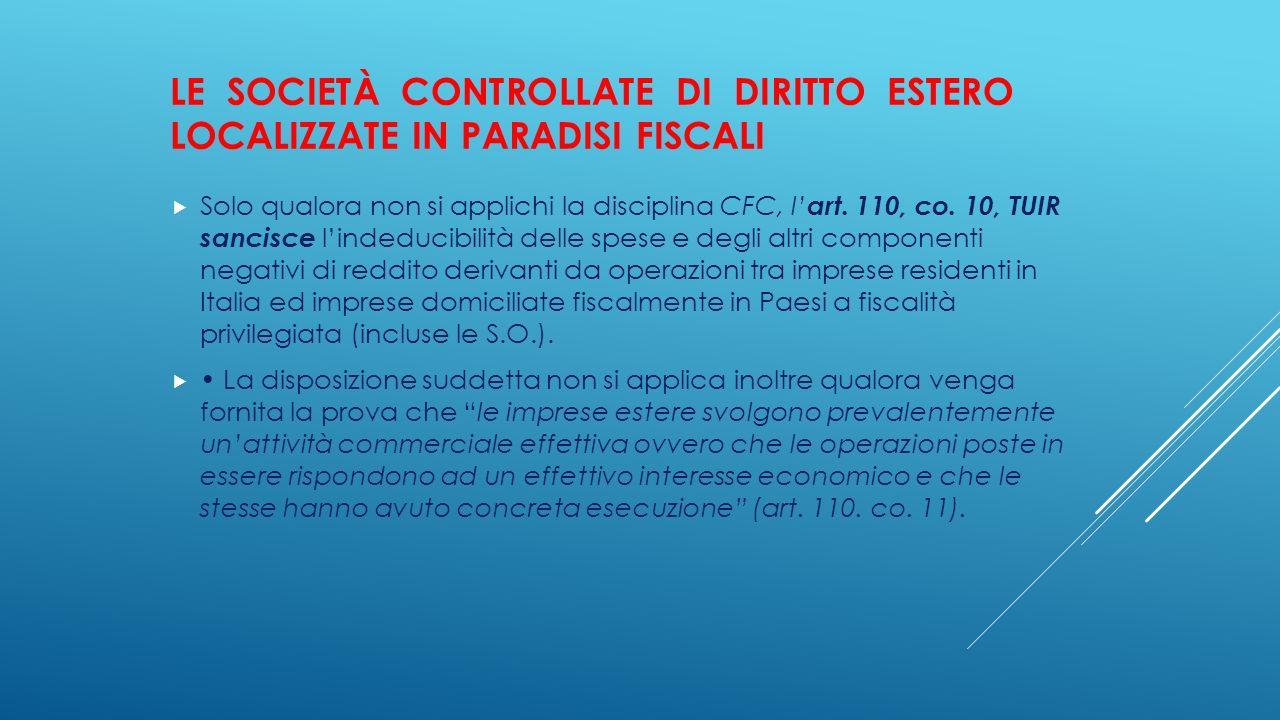 LE SOCIETÀ CONTROLLATE DI DIRITTO ESTERO LOCALIZZATE IN PARADISI FISCALI  Solo qualora non si applichi la disciplina CFC, l' art. 110, co. 10, TUIR s