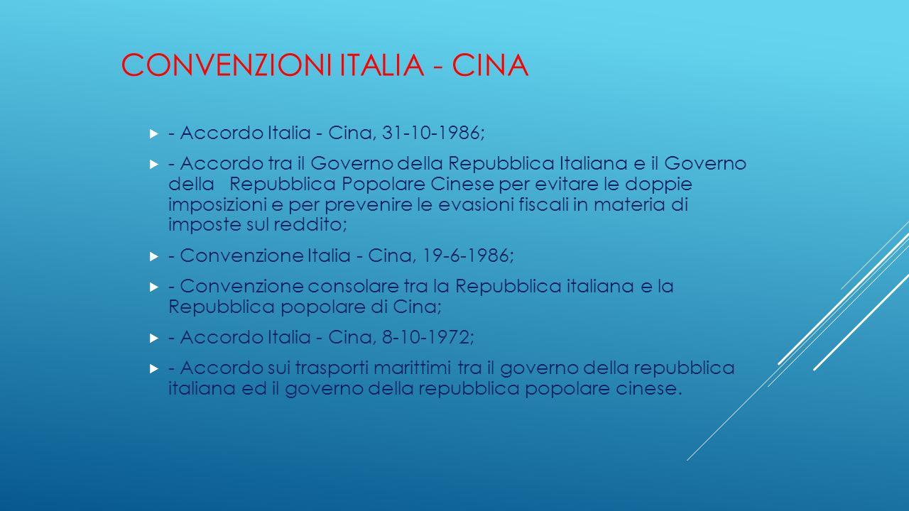 CONVENZIONI ITALIA - CINA  - Accordo Italia - Cina, 31-10-1986;  - Accordo tra il Governo della Repubblica Italiana e il Governo della Repubblica Po