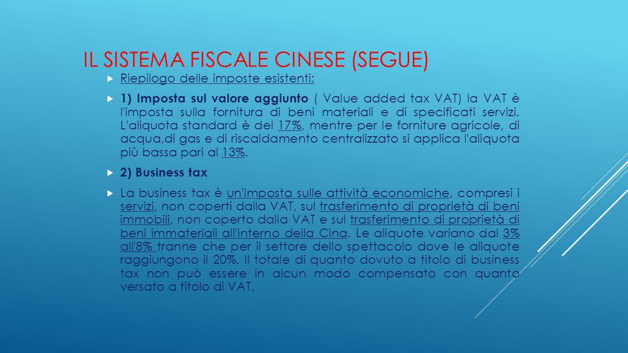 IL SISTEMA FISCALE CINESE (SEGUE)  Riepilogo delle imposte esistenti:  1) Imposta sul valore aggiunto ( Value added tax VAT) la VAT è l'imposta sull