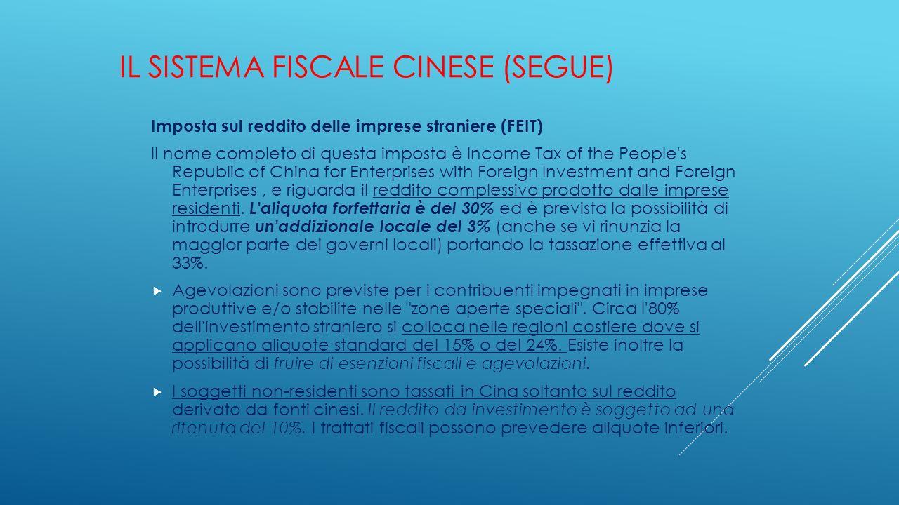 IL SISTEMA FISCALE CINESE (SEGUE) Imposta sul reddito delle imprese straniere (FEIT) Il nome completo di questa imposta è Income Tax of the People's R