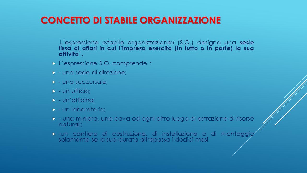 CONCETTO DI STABILE ORGANIZZAZIONE L'espressione «stabile organizzazione» (S.O.) designa una sede fissa di affari in cui l'impresa esercita (in tutto
