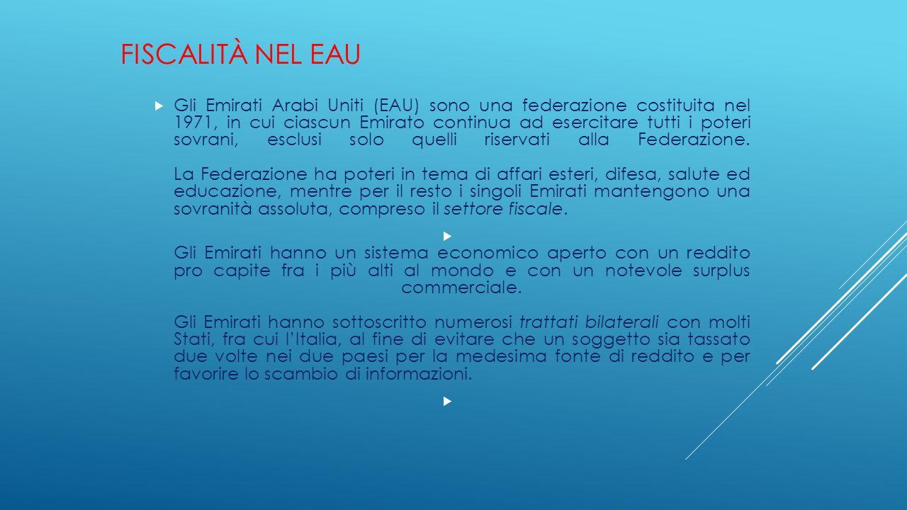 FISCALITÀ NEL EAU  Gli Emirati Arabi Uniti (EAU) sono una federazione costituita nel 1971, in cui ciascun Emirato continua ad esercitare tutti i pote
