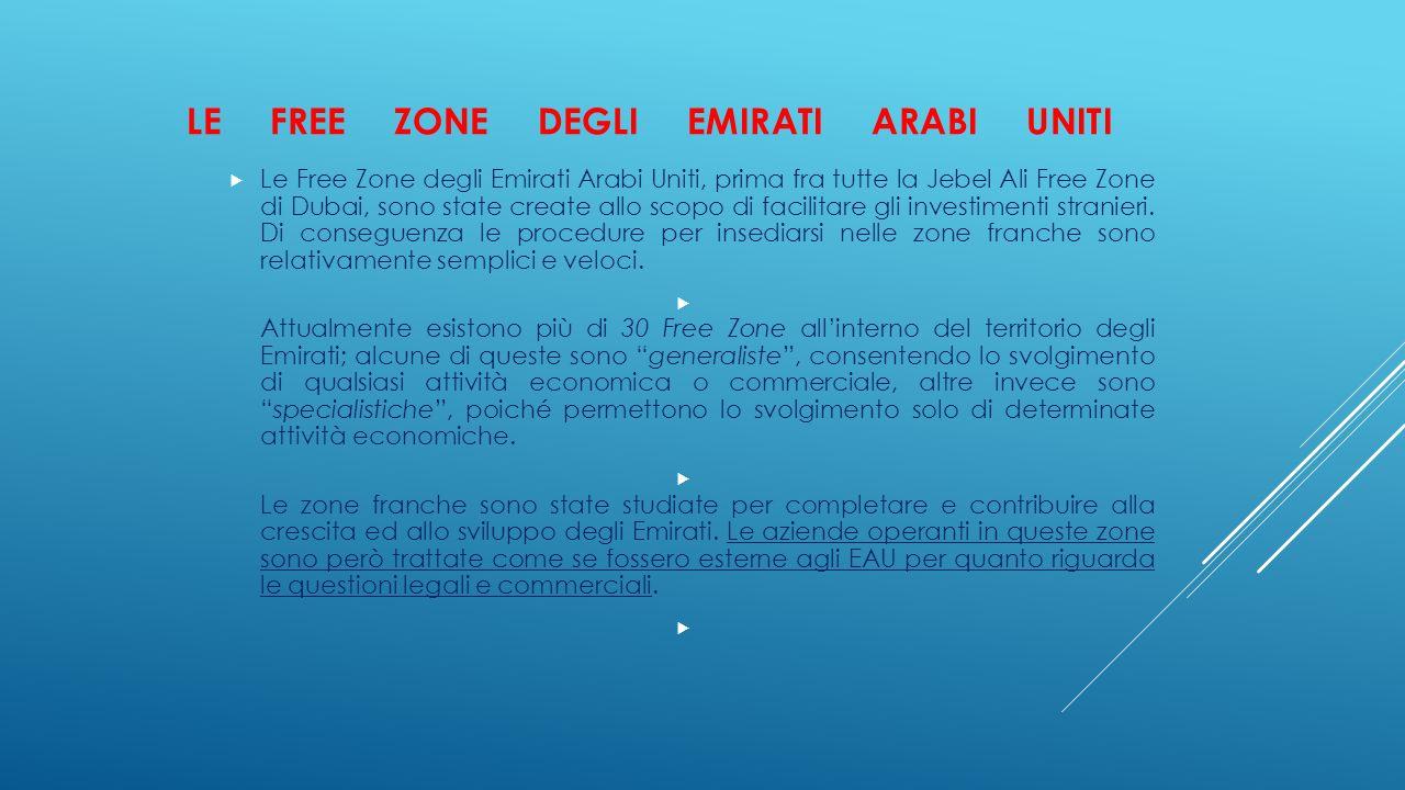 LE FREE ZONE DEGLI EMIRATI ARABI UNITI  Le Free Zone degli Emirati Arabi Uniti, prima fra tutte la Jebel Ali Free Zone di Dubai, sono state create al