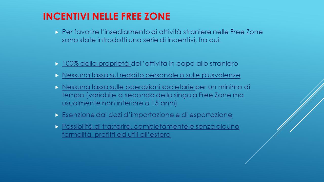INCENTIVI NELLE FREE ZONE  Per favorire l'insediamento di attività straniere nelle Free Zone sono state introdotti una serie di incentivi, fra cui: 